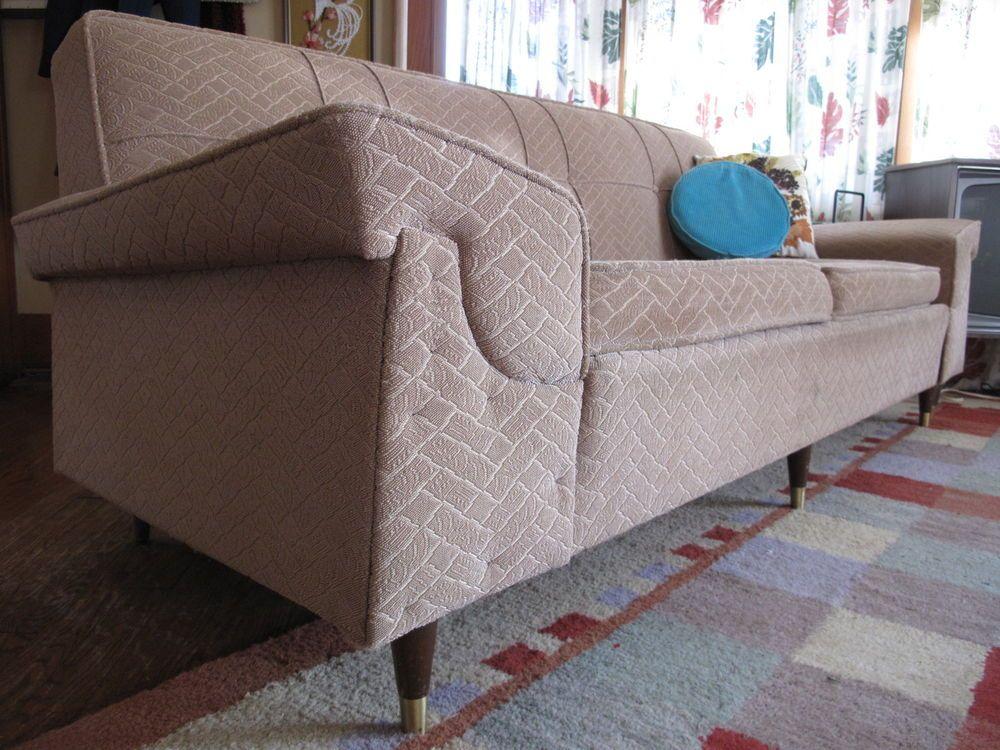 Antique furniture · Kroehler Sofa Couch Davenport. Mid Century Modern Retro  Nubby Fabric - Tan - Kroehler Antique Furniture Antique Furniture