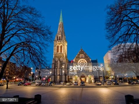 Nighttime view of Cathedral Square in Christchurch, New ...