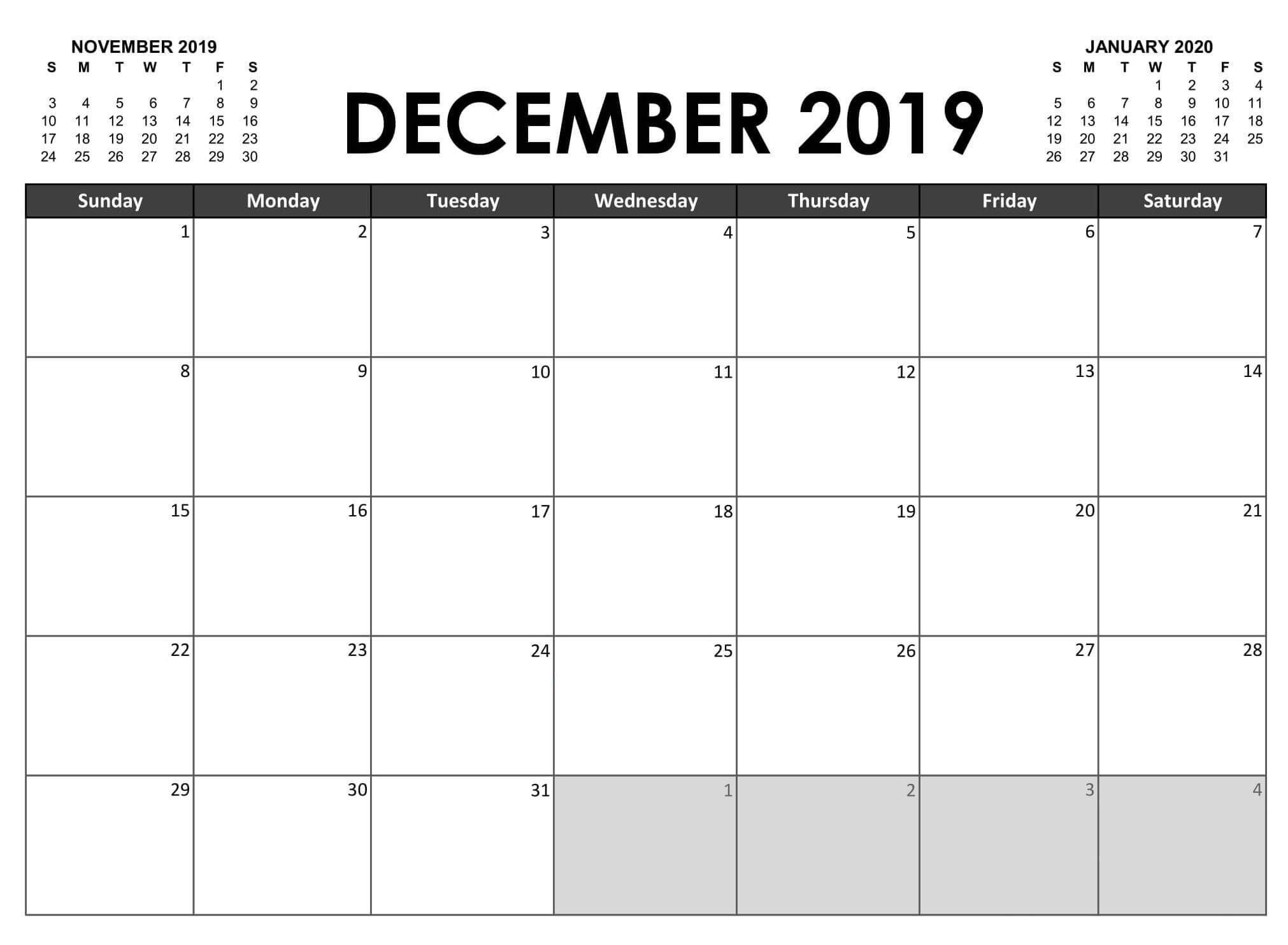 20 Fillable December Calendar Printable With Large
