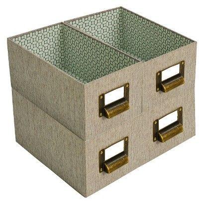 Nice Media Storage Bin Set Of 4   Brown Linen   Threshold™
