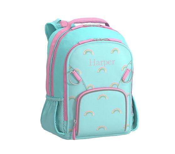 Fairfax Embroidered Aqua Rainbow Backpack   Pottery Barn Kids ... c5f6ef5514