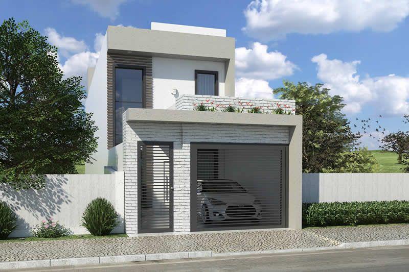 Planta de sobrado com 5 metros de frente casas em 2019 for Casa minimalista 80 metros