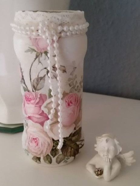 windlicht shabby landhaus vintage romantik deko spitze vase perlen rosen upcycling pinterest. Black Bedroom Furniture Sets. Home Design Ideas