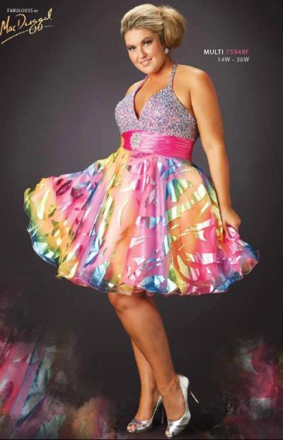 MacDuggal Fabulouss Plus Size Foil Burnout Short Prom Dress 75948F ...