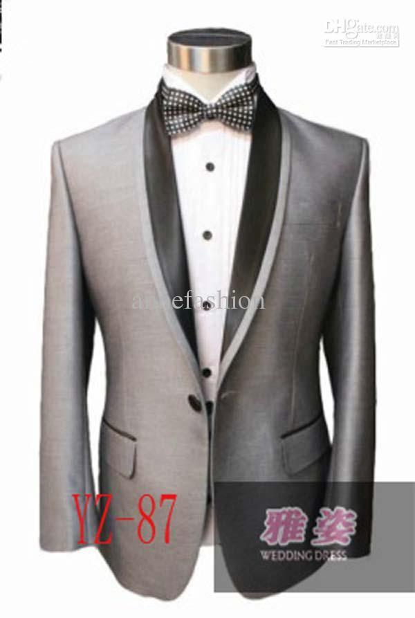 Design Silk Polyester Tuxedos Wedding Groomsman Bridegroom Suits Bright Grey Suit
