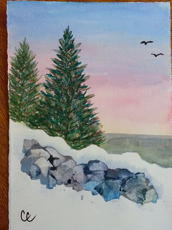 Snow Topped Rock Wall Blank Holiday Card by ArtbyCheri on Etsy
