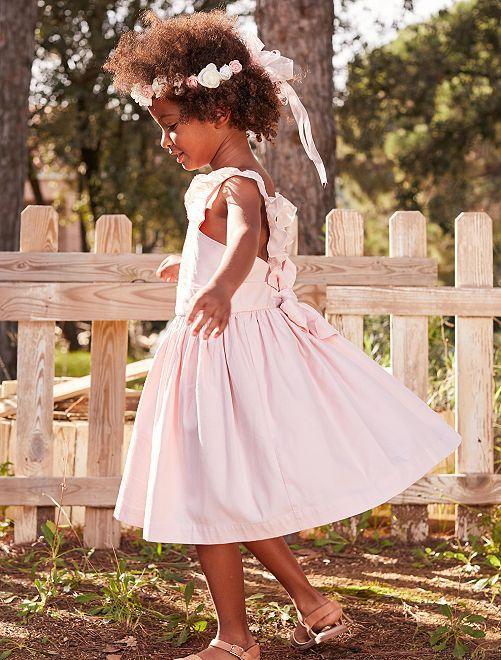 bf65bdf7cab9c8 Feestjurk met strik en ruches ROSE Kinderkleding meisjes - Kiabi