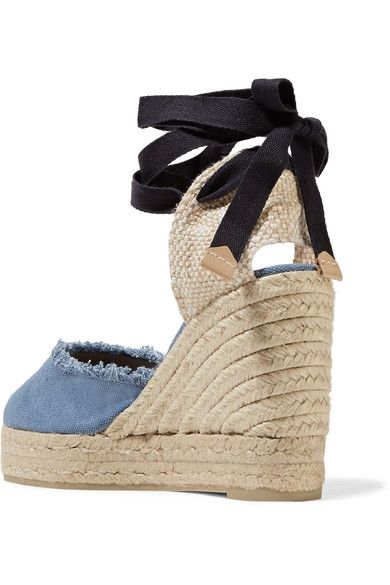 07e3f16a695 Castañer - Canela Fringed Denim Wedge Espadrilles - Mid denim - IT40 ...