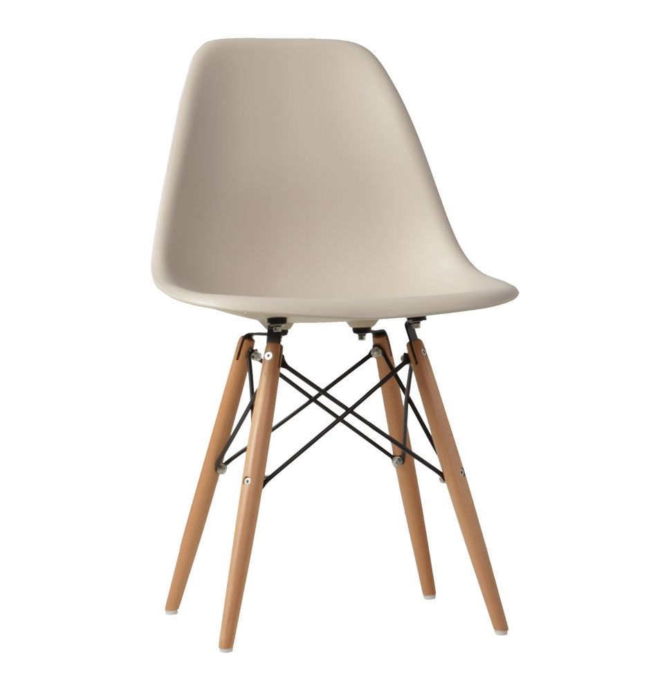 the matt blatt replica eames dsw side chair in beige with beech legs plastic by charles and ray. Black Bedroom Furniture Sets. Home Design Ideas