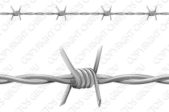 Barbed wire Graphics An illustration of seamless tiling barbed wire ...