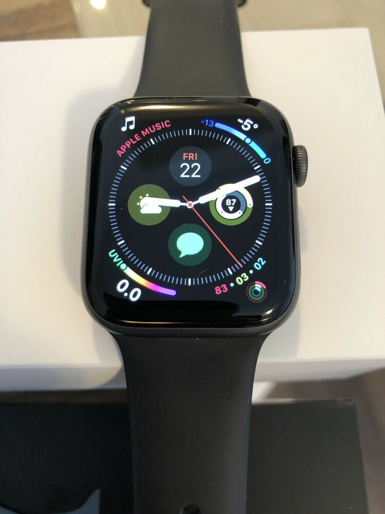 sale retailer 11981 e92ba Apple Watch Series 4 44 mm Space Gray Aluminum Case with Black Sport ...