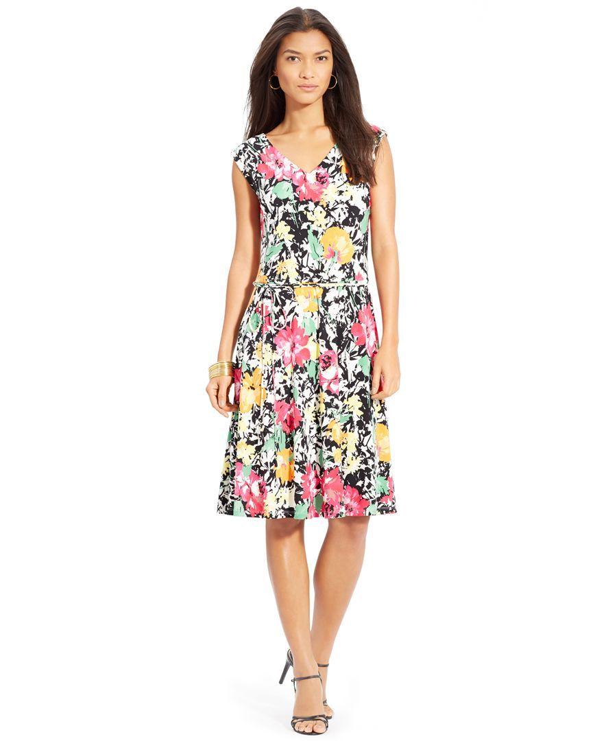 Lauren Ralph Lauren Plus Size Floral Print A Line Dress Womens