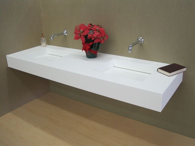 Corian 1 Piece Countertop Sink Combo Wall Faucet Trough Sink