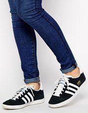 adidas gazelle black and white on feet
