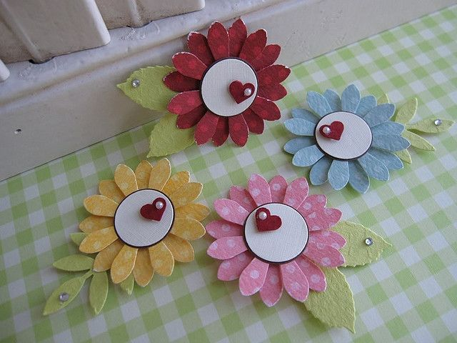 flower embellishments  card embellishments scrapbook