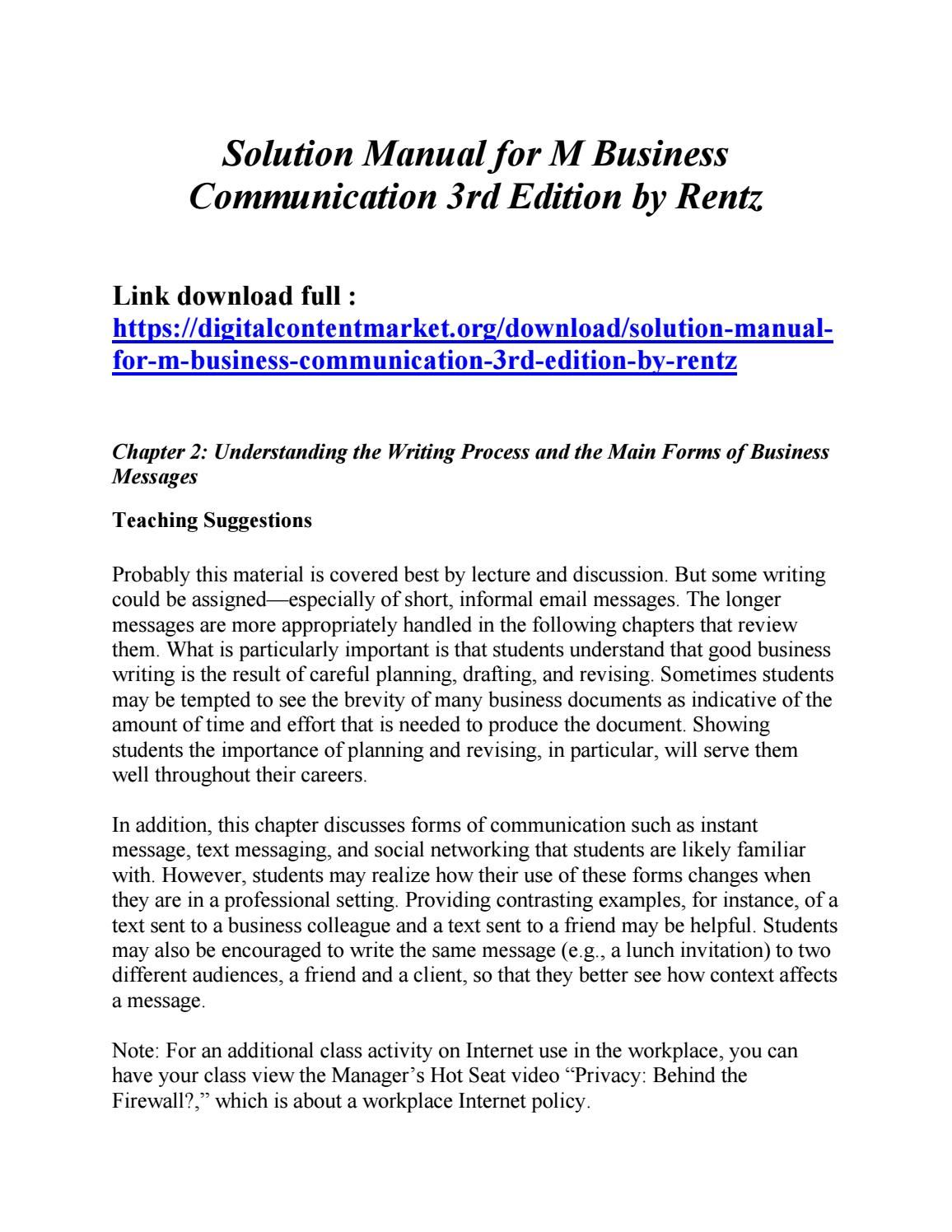 Download solution manual for m business communication 3rd edition by rentz