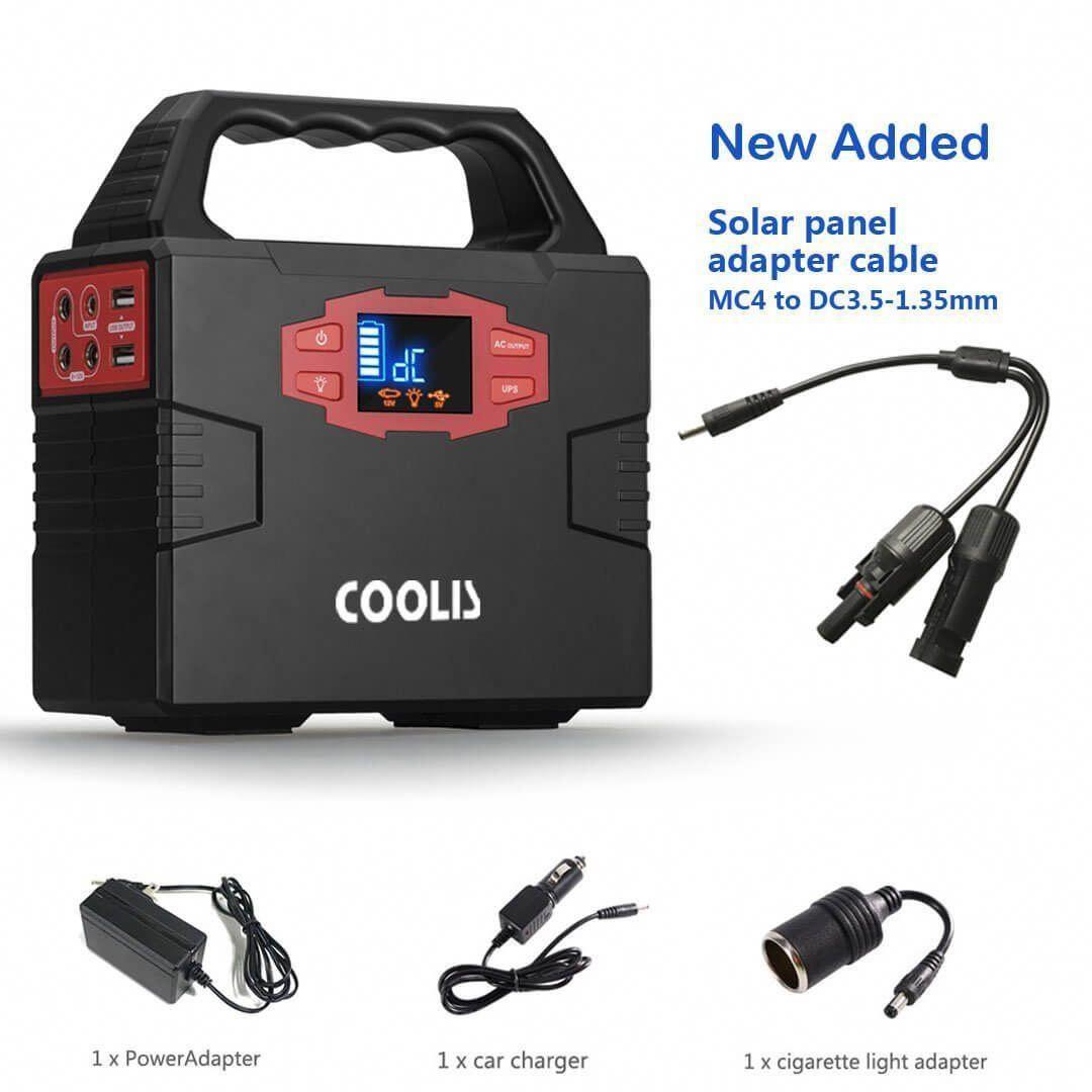 Coolis 150wh Portable Solar Power Inverter Generator With Silent 110v Ac 2 12v Dc 3 Usb 2 Portable Solar Power Solar Power Inverter Solar Power Station