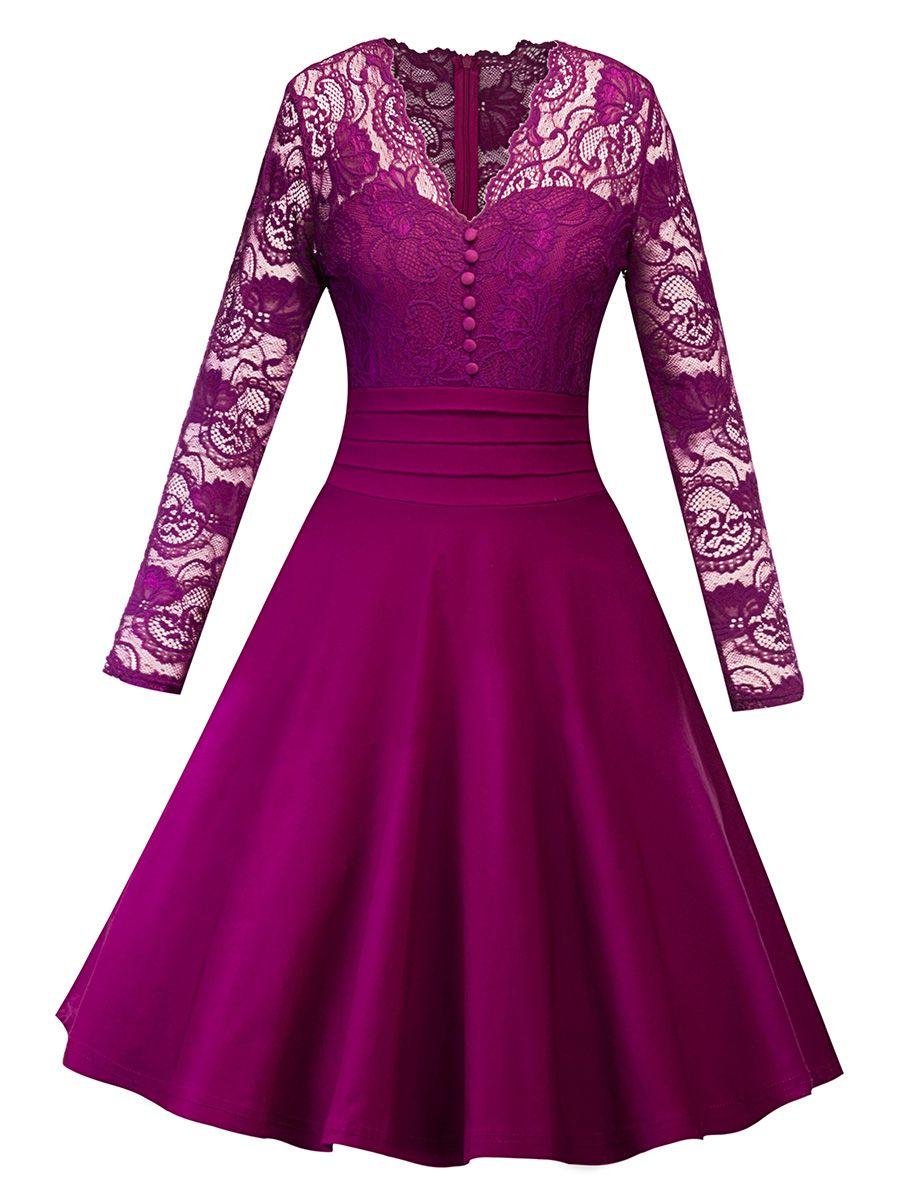 V Neck Lace Sleeve Women\'s Day Dress