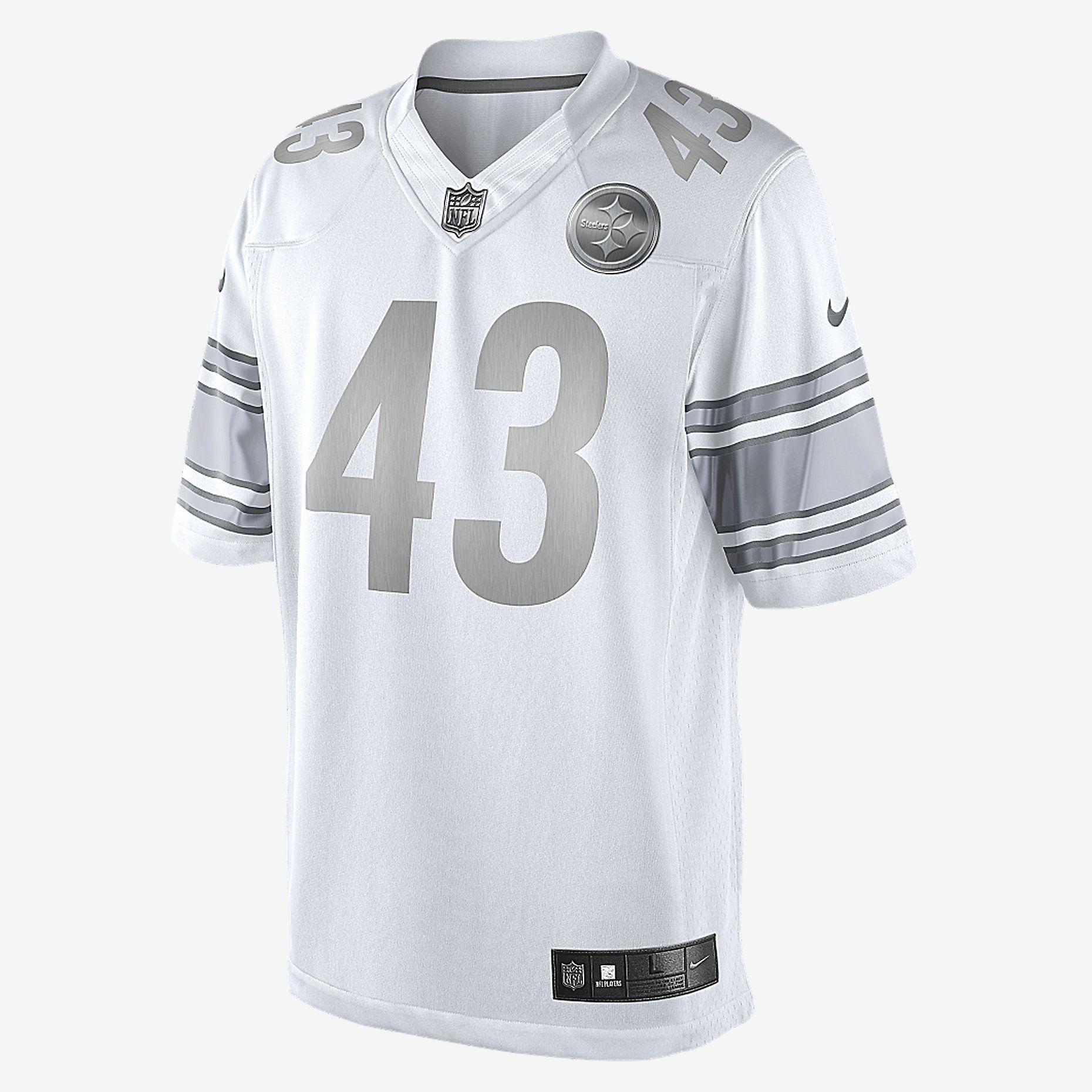 NFL Pittsburgh Steelers (Troy Polamalu) Nike Platinum Men's Football Jersey. Nike Store