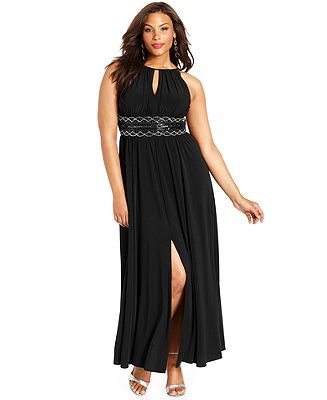 45cdbfff8880 R&M Richards Plus Size Sleeveless Beaded Gown - Dresses - Plus Sizes -  Macy's