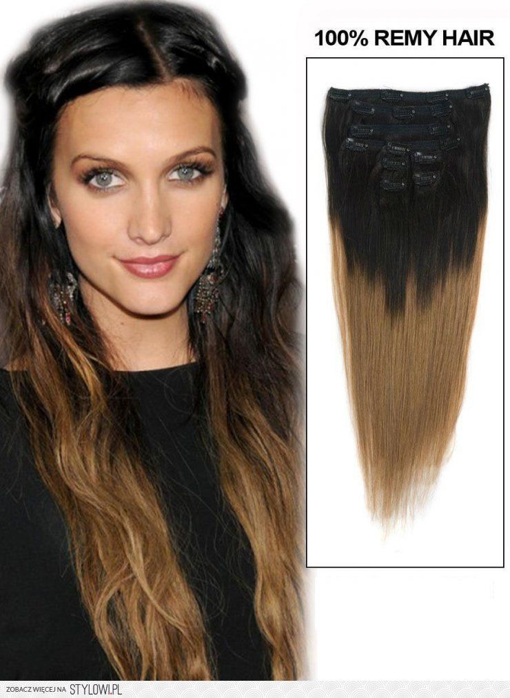 24 Inch Clean Ombre Clip In Hair Extensions Two Tone S Ombre Clip