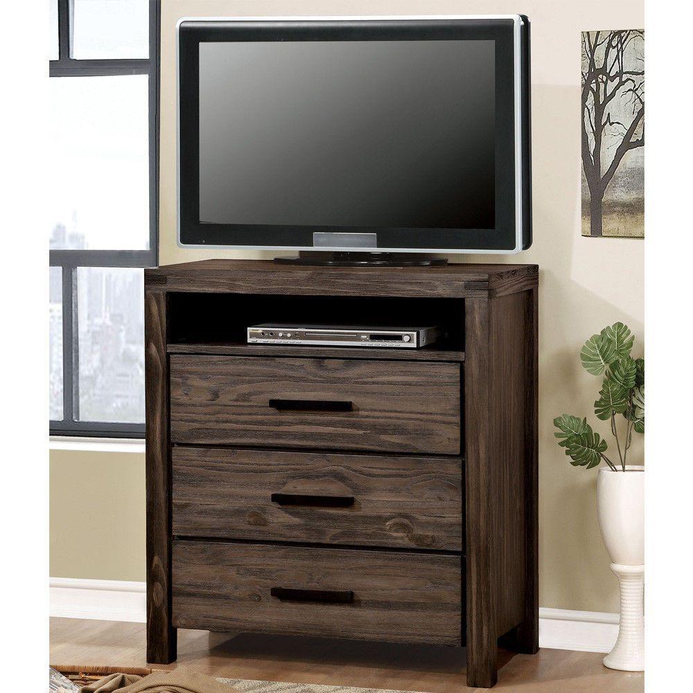 Rexburg Media Entertainment TV Chest Storage Cabinet Stand Rustic Wood Dark  Gray