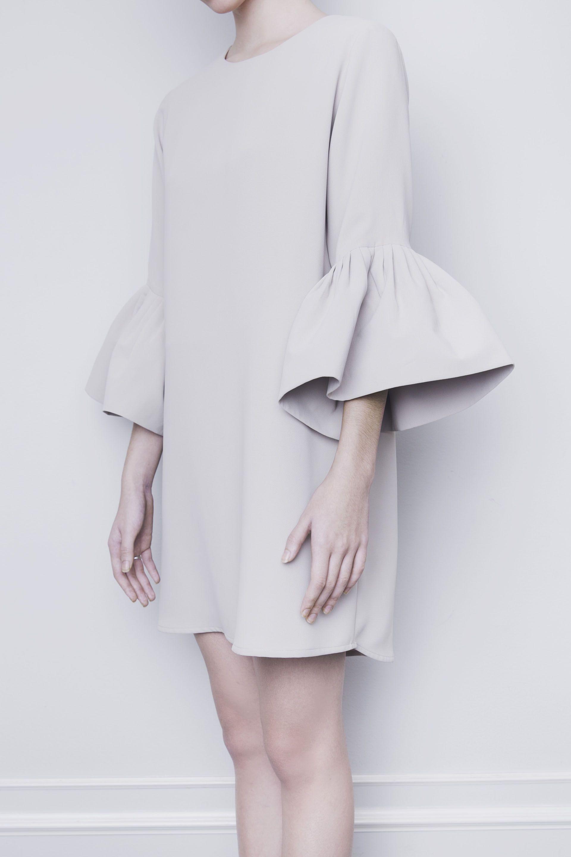 Odessa tan bellsleeves tunic dress vania romoff woman style