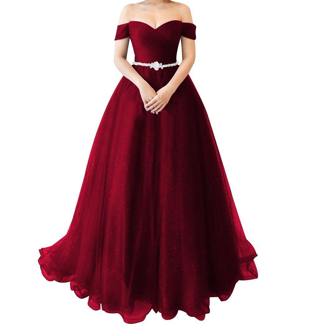 Licheng bridal sparkly off shoulder tulle princess prom dress long