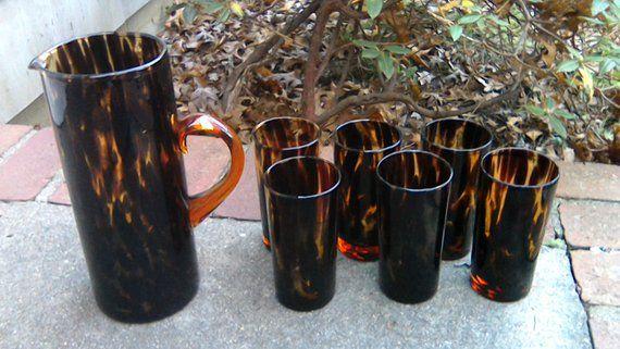 dcc37be898 Vintage Tortoise Shell Glass Pitcher Set Mid Century Modern Safari Leopard  Tortoiseshell Pattern Glasses Pitcher Safari Barware Mancave
