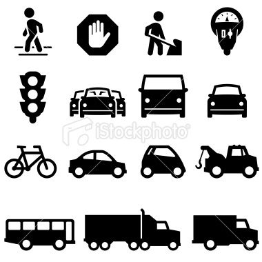 Traffic Icons - Black Series Royalty Free Stock Vector Art Illustration
