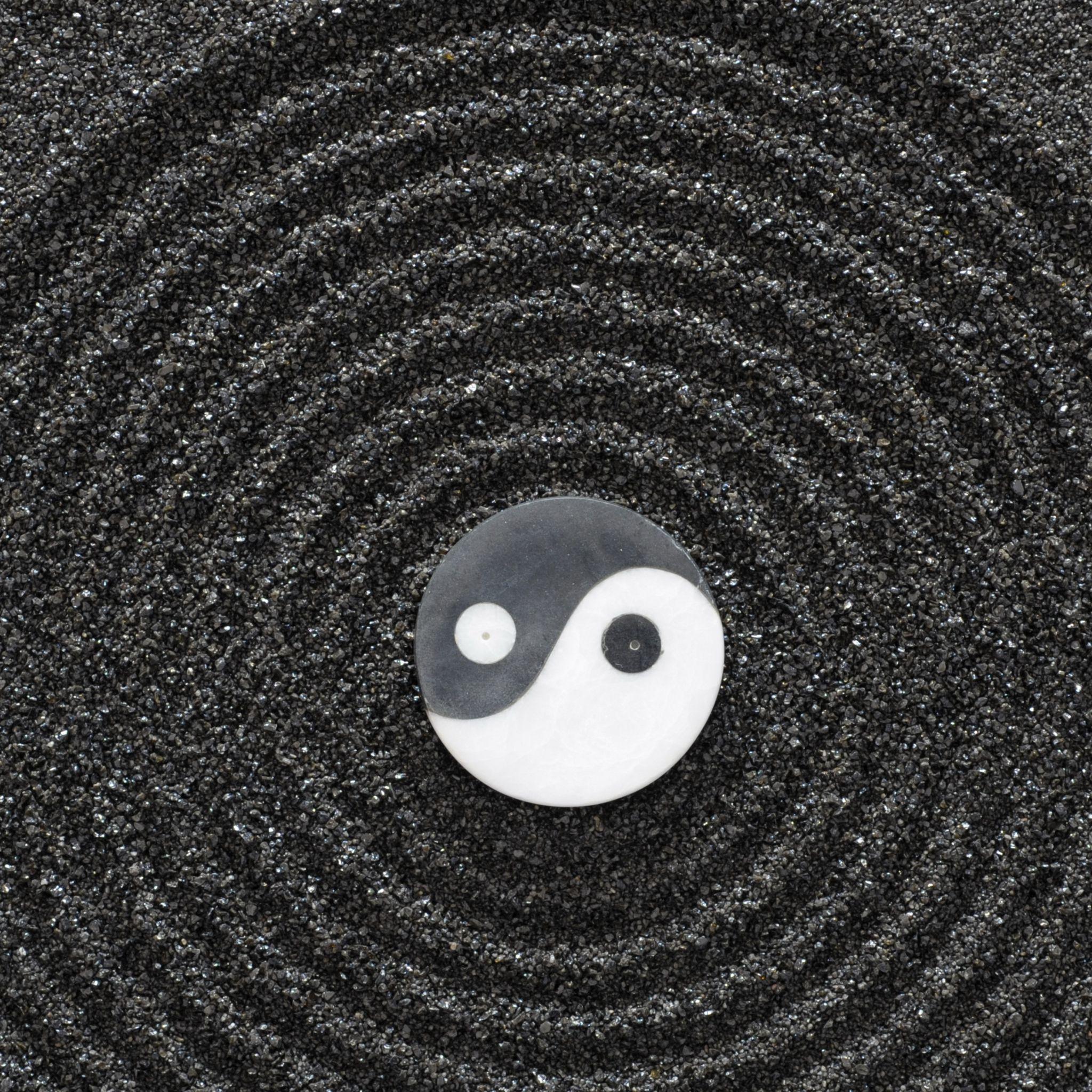 2048x2048 Wallpaper yinyang, stones, earth, symbol, harmony
