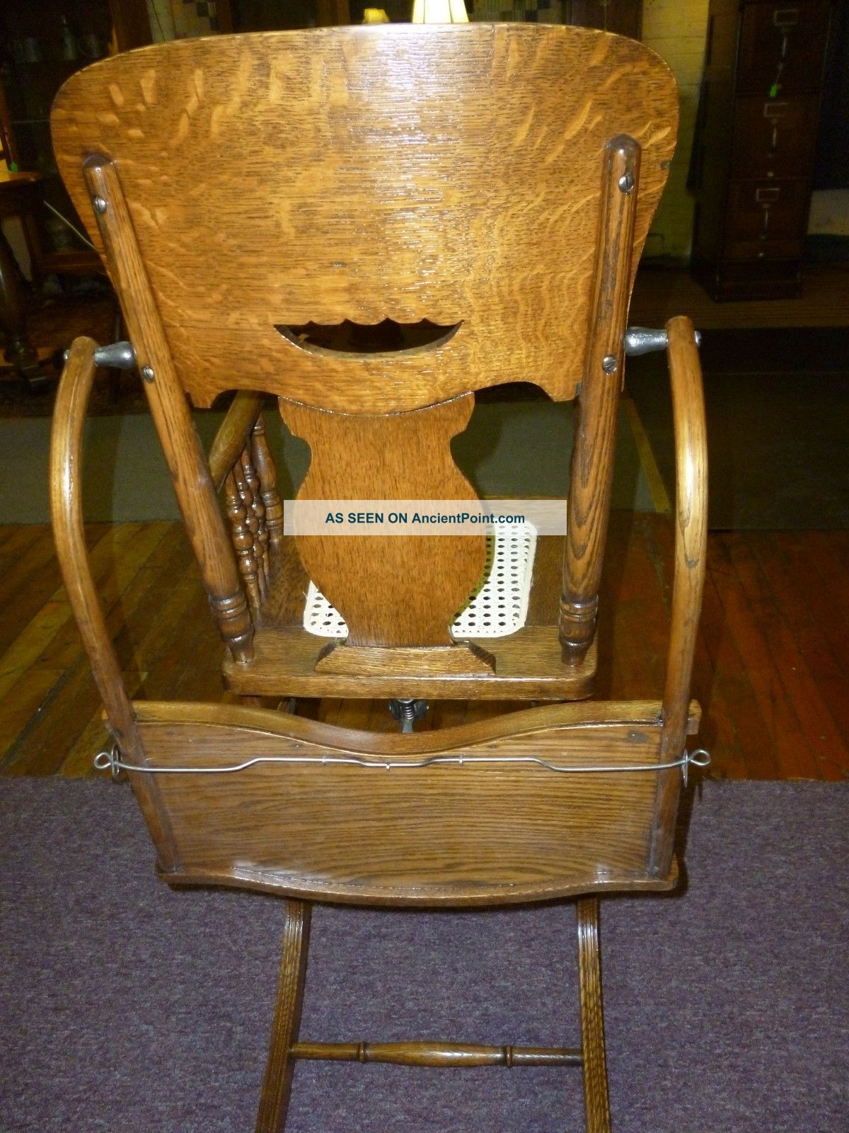 antique oak high chair | Antique Oak High Chair / Rocker Pressed Back /  Cane Seat - Antique Oak High Chair Antique Oak High Chair / Rocker Pressed