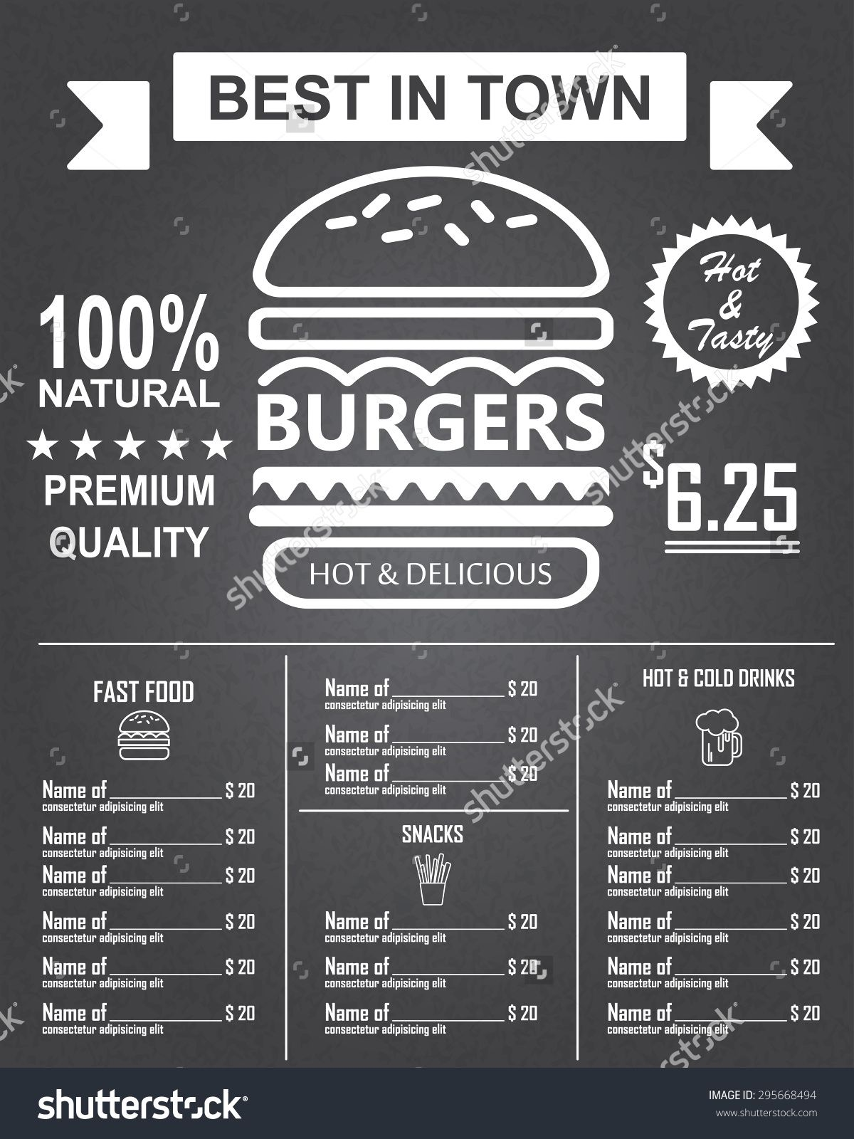 Burger Menu Poster Design On The Chalkboard Infographics – Sample Chalkboard Menu Template