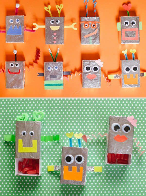 Diy Candy Dispensing Robots Matchbox Crafts Diy Valentines Gifts Valentines Robots