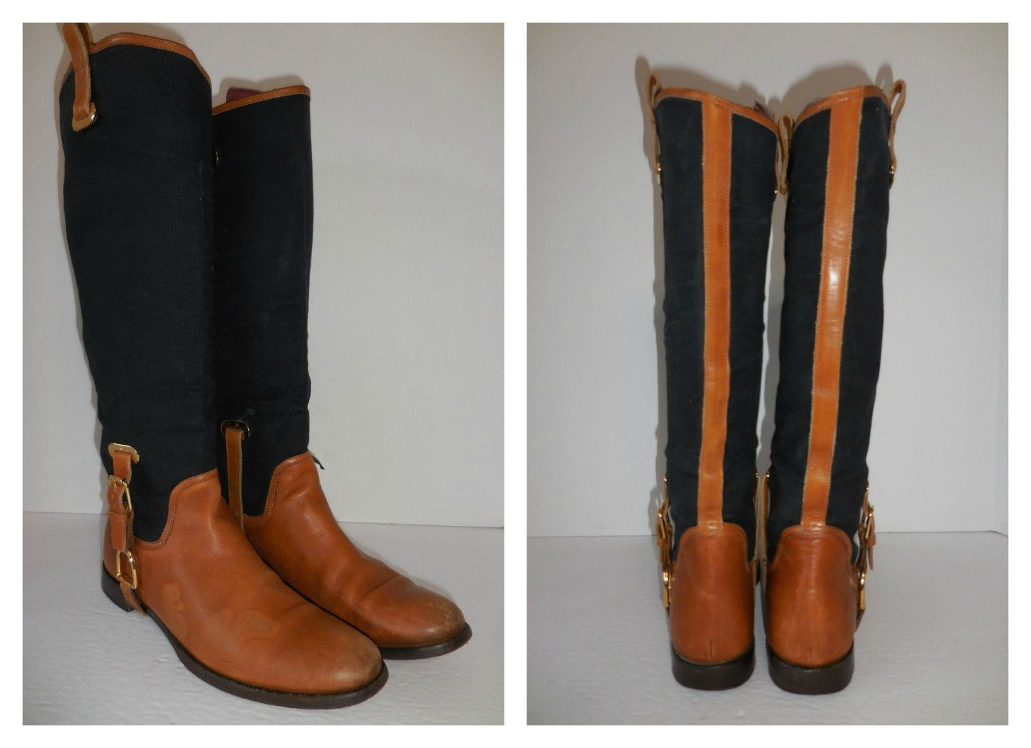 d081a1b55270b Italian Couture Tall Riding Boots / 90s Ralph Lauren Brown Leather ...