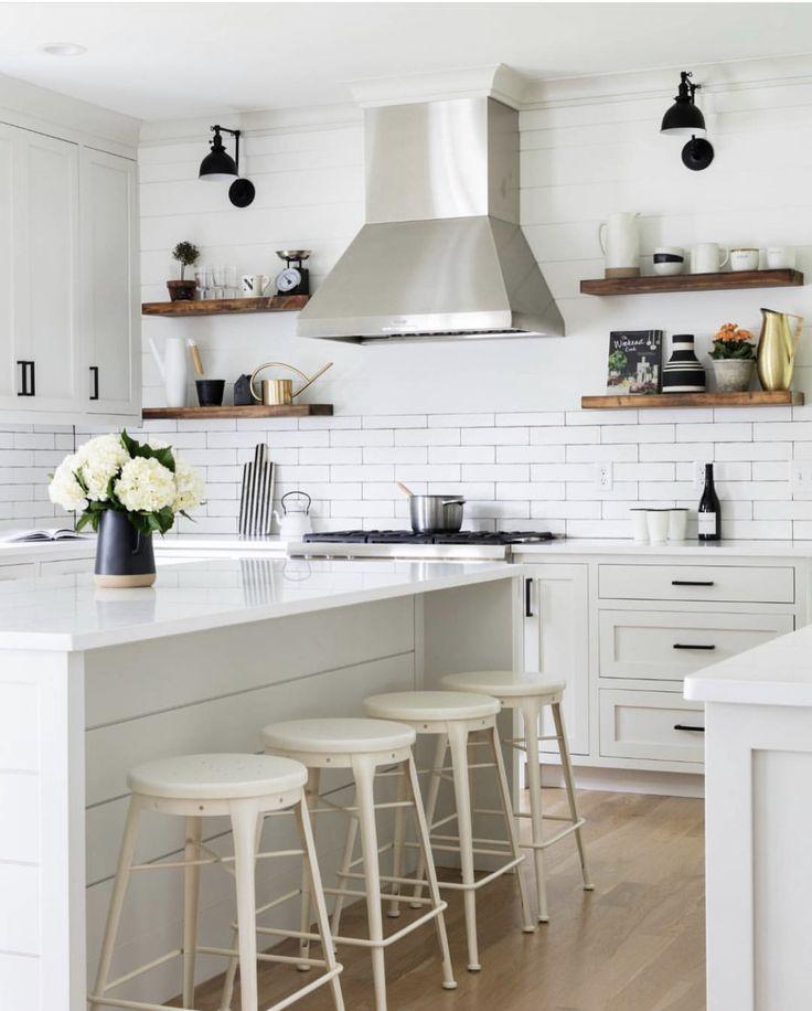 Best White Modern Kitchen With Open Shelving Modern Farmhouse 400 x 300
