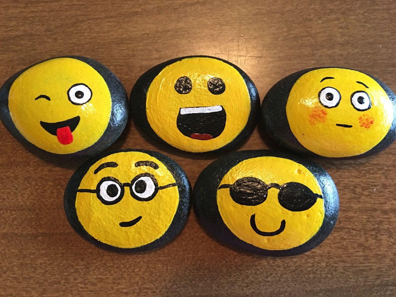 Emoji Faces Painted On Rocks 8pr By Godsglitter On Etsy Painted Rocks Kids Diy Painting Rock Crafts