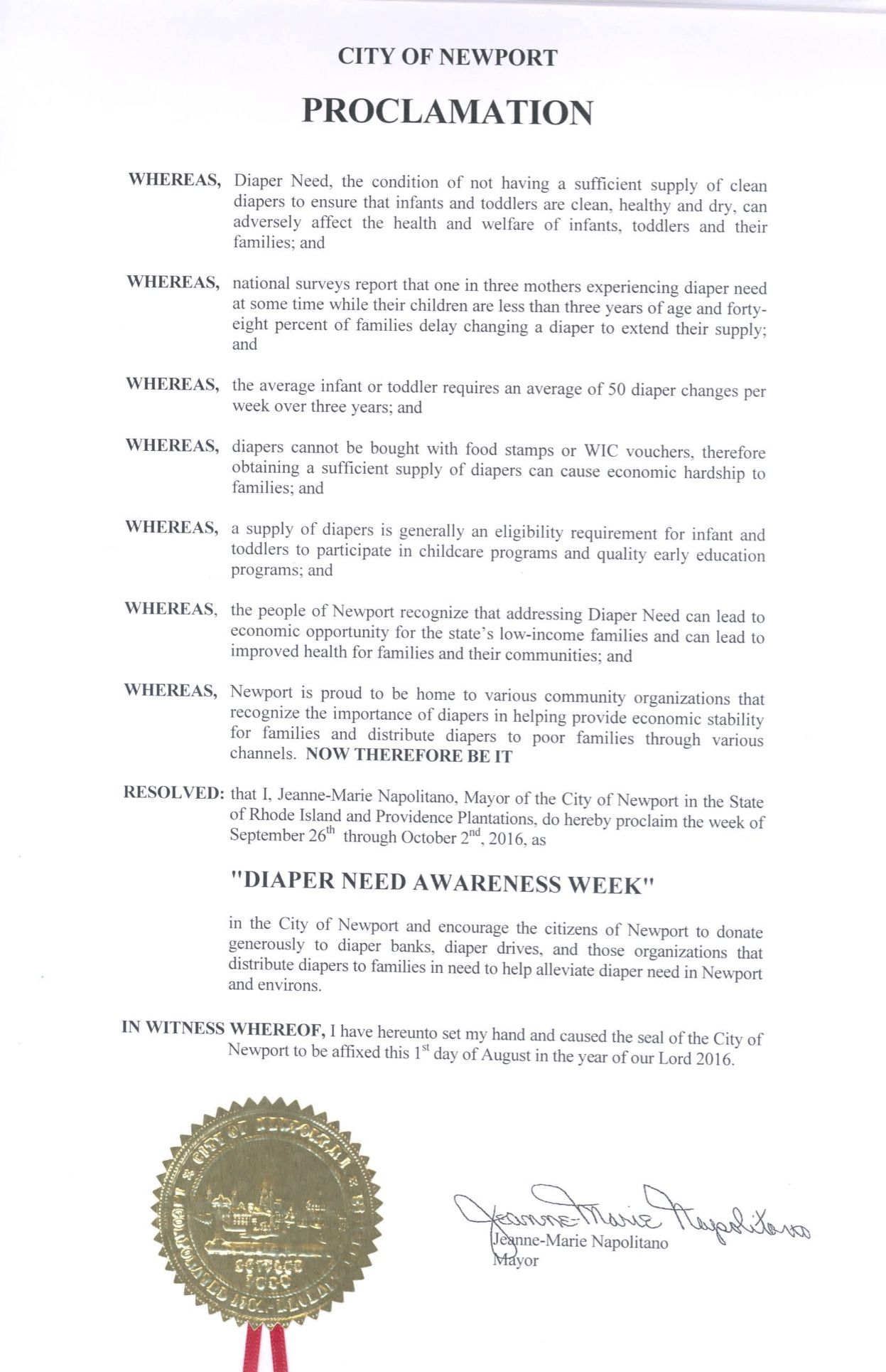 NEWPORT, RI - Mayoral proclamation recognizing Diaper Need Awareness Week (Sep. 26 - Oct 2, 2016) #DiaperNeed diaperneed.org