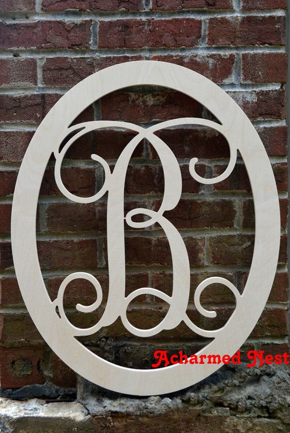 22 Inch Wooden Monogram With Oval Border Single By Acharmednest