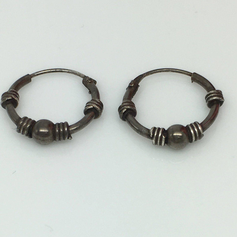 Black wire hoop earrings, men\'s hoop earrings, sphere and coil ...