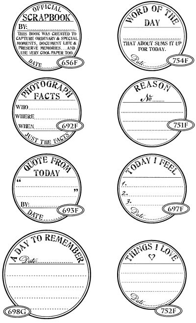 Rubber stamps from Cat's Life Press - they have LOTS of journaling and scrapbooking stamps - I WANT THESE!!