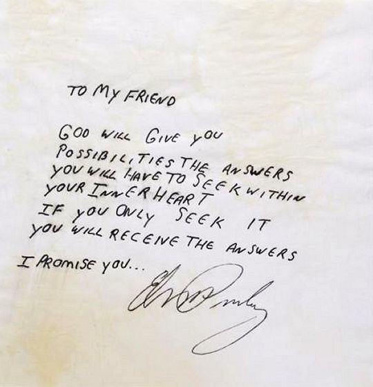Image result for elvis note written to daughter   Follow That ...