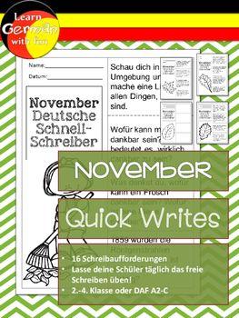 German Quick Writes- Deutsche Übungen zum schreiben üben-