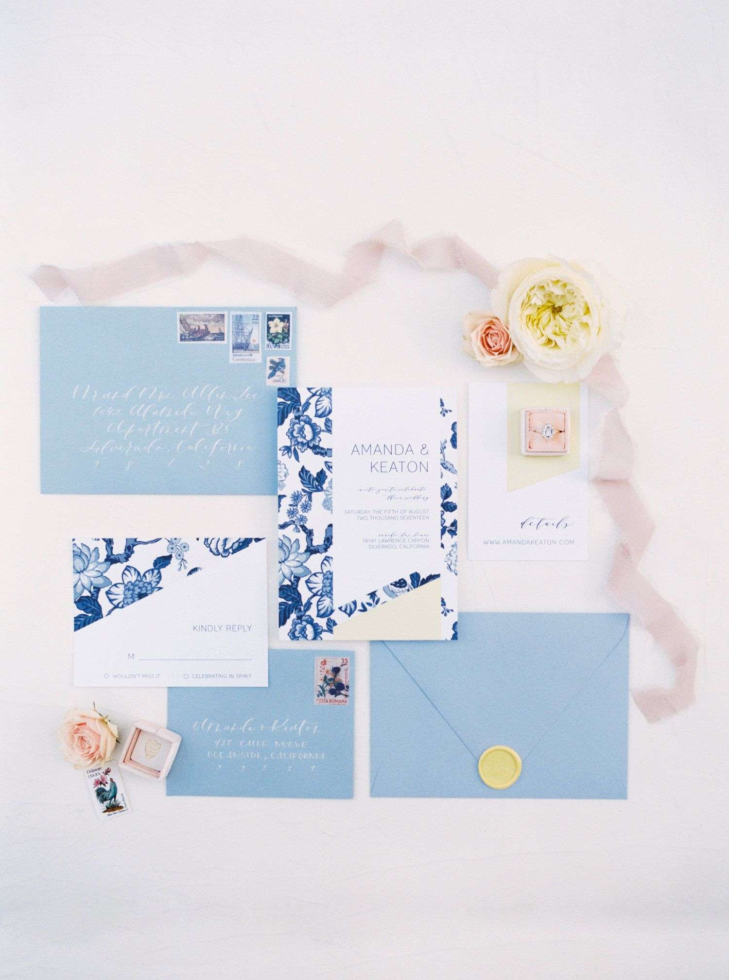 Blue and yellow china inspired wedding invitation with yellow wax ...