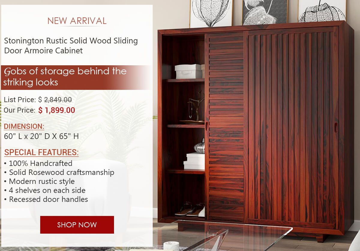 Our Stonington Rustic Solid Wood Sliding Door Armoire Cabinet Is