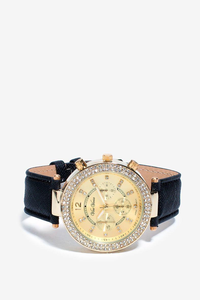 Courtney Rhinestone Faux Leather Watch