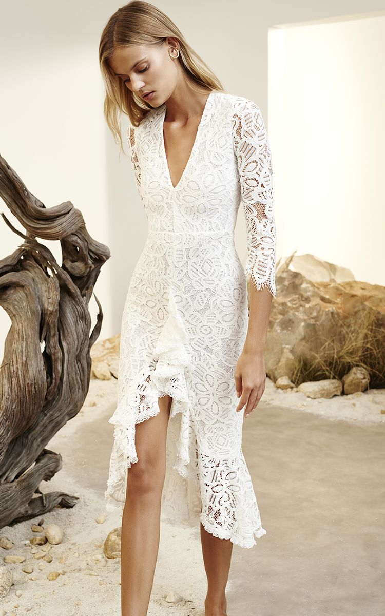 ca3e1153c1b6 Nadege White Ruffled Lace Dress by Alexis | Vacation Wardrobe in ...
