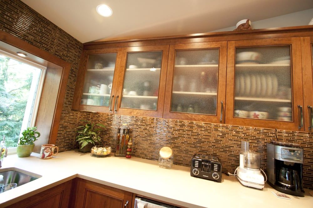 custom frosted glass door style on kitchen upper cabinets from Upper