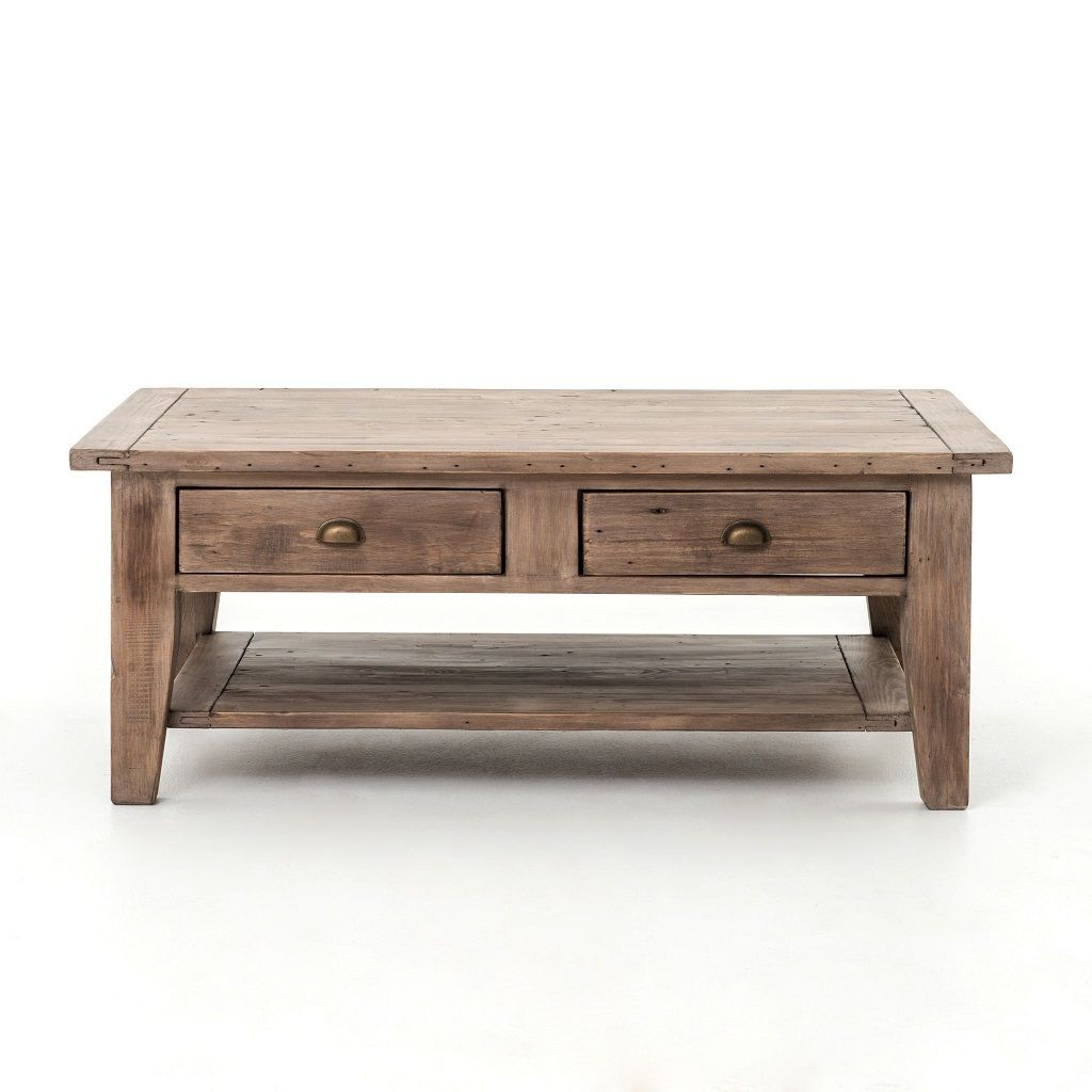 Coastal Solid Wood Coffee Table With Drawers Rustic Coffee