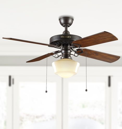 Heron ceiling fan with light kit aged bronze fumed oak blades opal ogee schoolhouse shade aged bronze finish with fumed oak blades